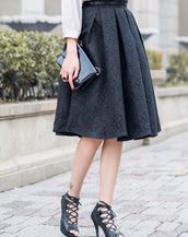Fashion Women Knee-length Structured Pleated Skirt