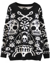 Edgy Skull Print Women Long Sleeves Pullover Sweater
