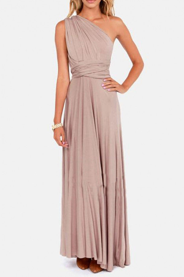 Elegant Draped Floor-Length Dress