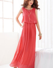 Grace Layered Back Split Maxi Chiffon Dress
