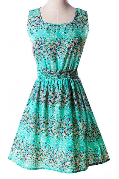 Aqua Dainty Floral Print Sleeveless A-Line Skater Dress