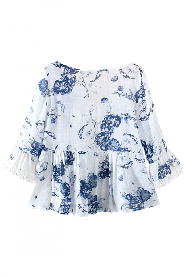 Ink Wash Floral Print Elbow Sleeve Summer Top For Women