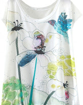 Floral Drawing Print Batwing Sleeve Summer Tee For Women