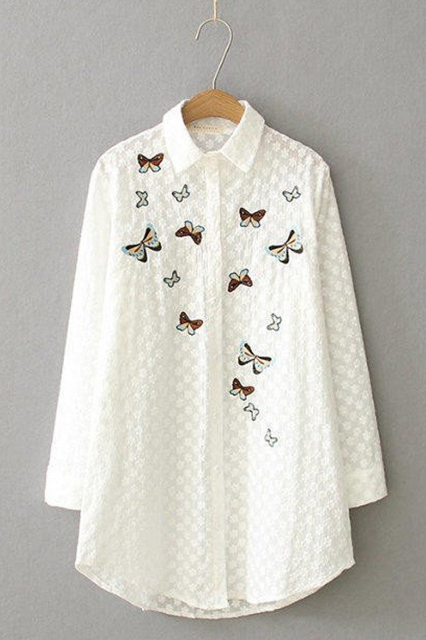 Butterfly printed embroidery loose long shirt