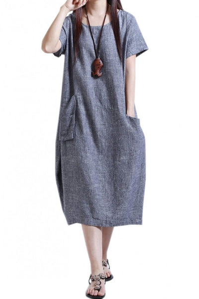 Appealing Solid Patchwork Short Sleeve Midi Shift Dress