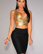 Gold Scale Cut-Out Crop Top