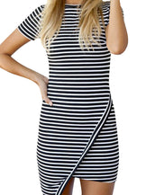 Chic Stripe Print Overlap Bodycon