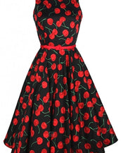 Cute Cherry Printed Midi Dress