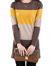 Fashion Color Block Long Sleeve Longline Pullover Sweater