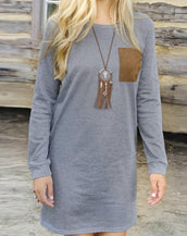 Fashion Elbow Patch Long Sleeve Shift Dress