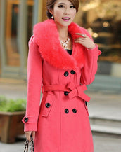 Fancy Double-Breasted Faux Fur Collar Belted Coat