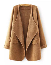 Long all-match Lapel loose sweater