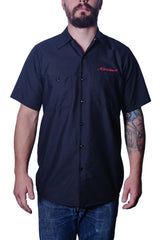 Men's Pinstripe Red Cap Work Shirt