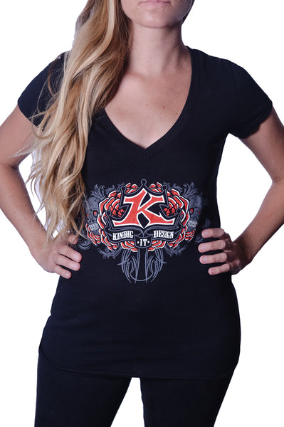 Women's Skull and Rose V-Neck