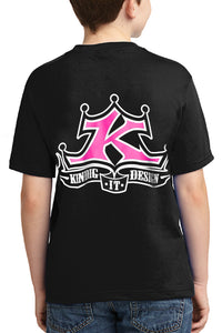 Youth Girls Pink & White Logo T-Shirt