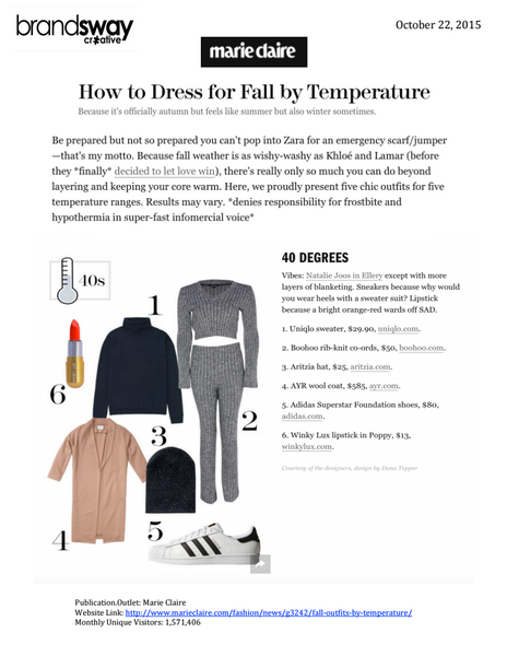 Marie Claire: Outfits by Temperature