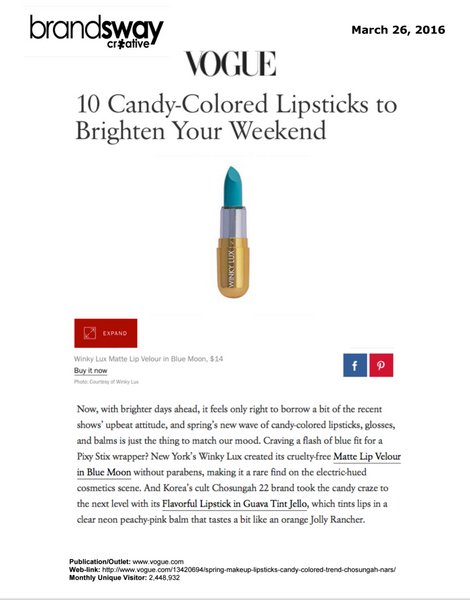 Vogue: 10 Candy-Colored Lipsticks