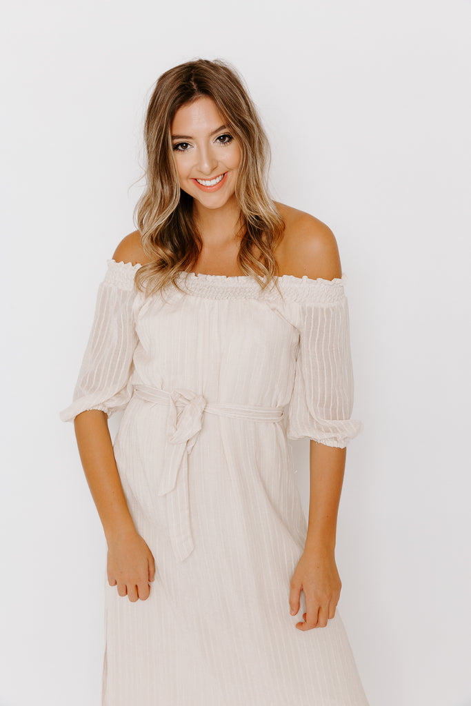 LUCY OFF SHOULDER MIDI