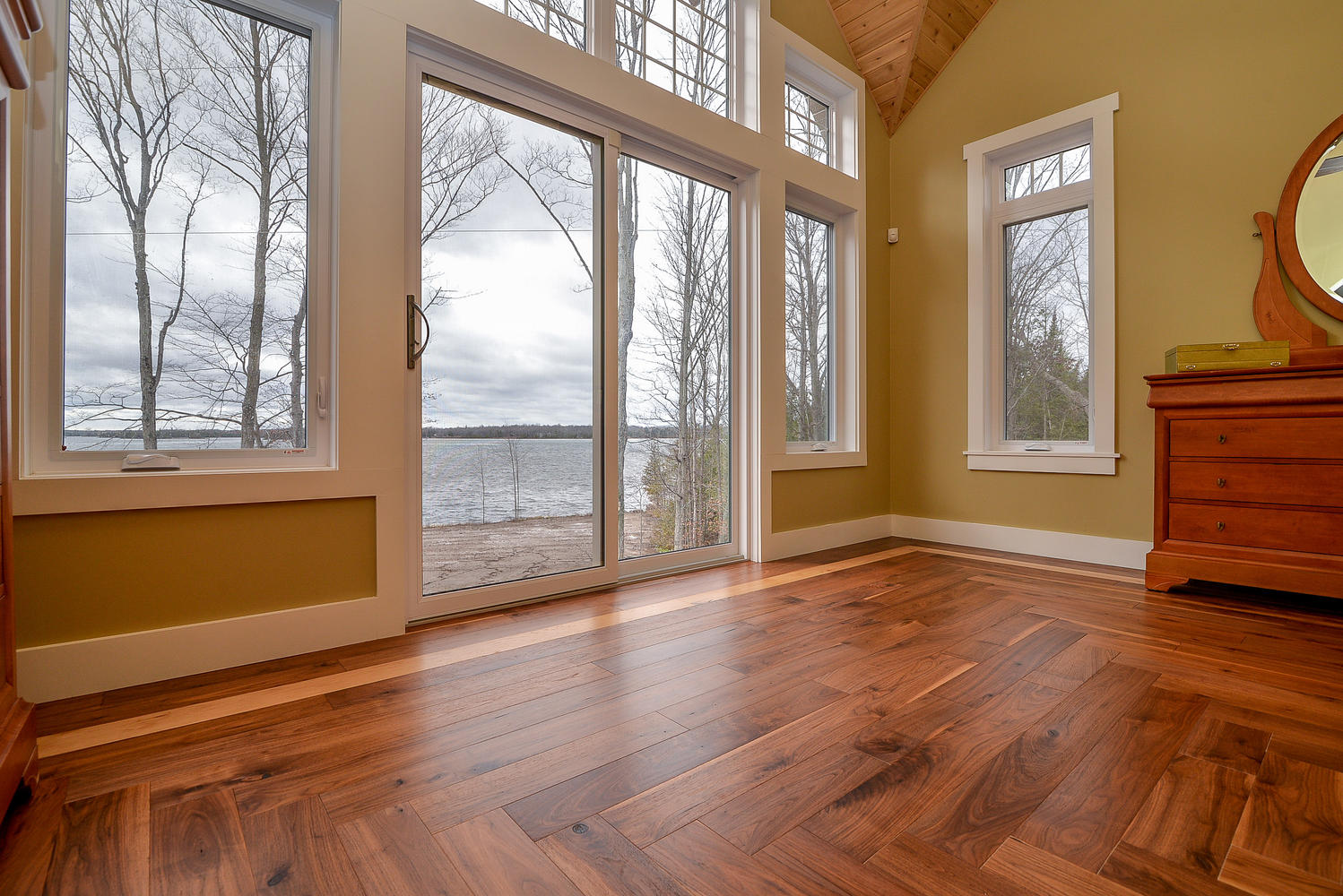 walnut wide plank flooring in cottage home