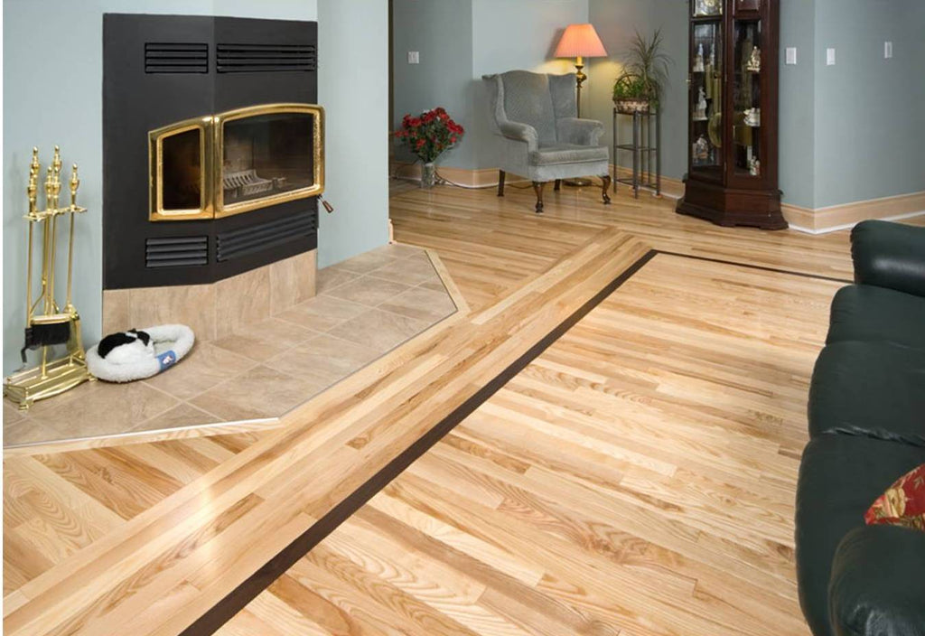 hardwood flooring wrapping around a fireplace