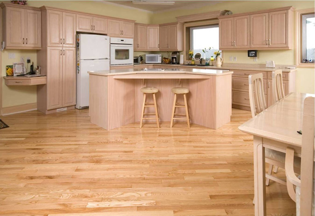 natural ash hardwood flooring in a kitchen