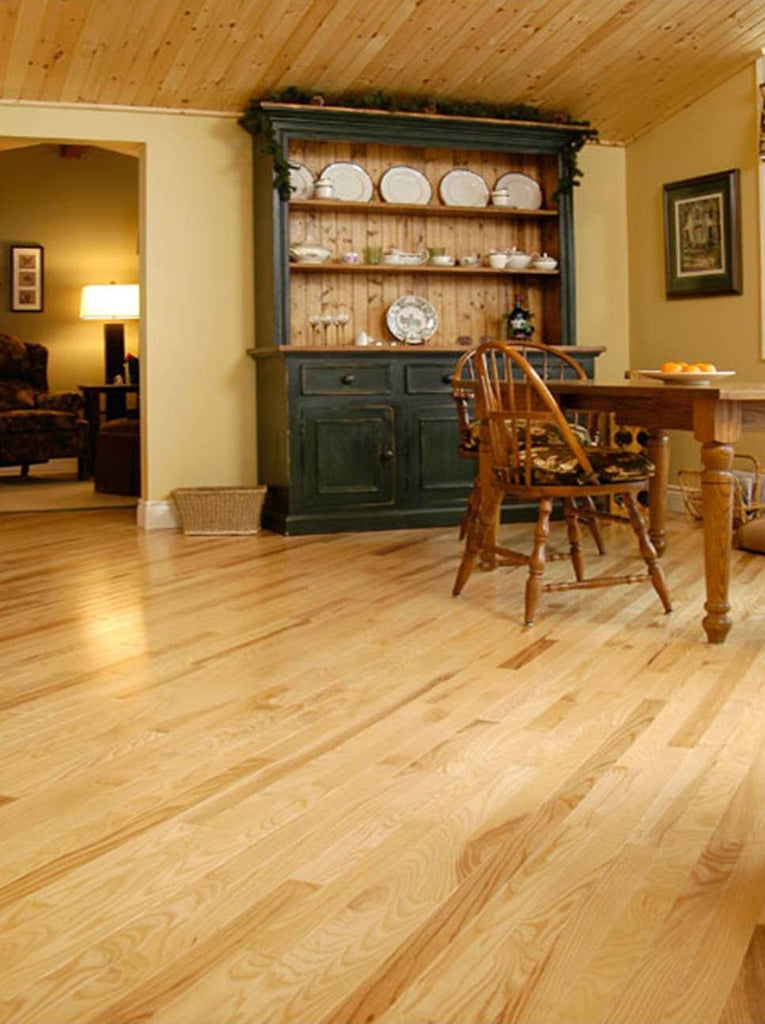 Natural Ash Hardwood Flooring in a rustic home