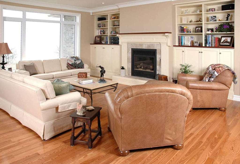 old fashion hardwood flooring in a modern living room