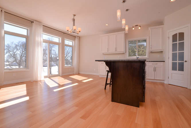 Hardwood flooring in a kitchen