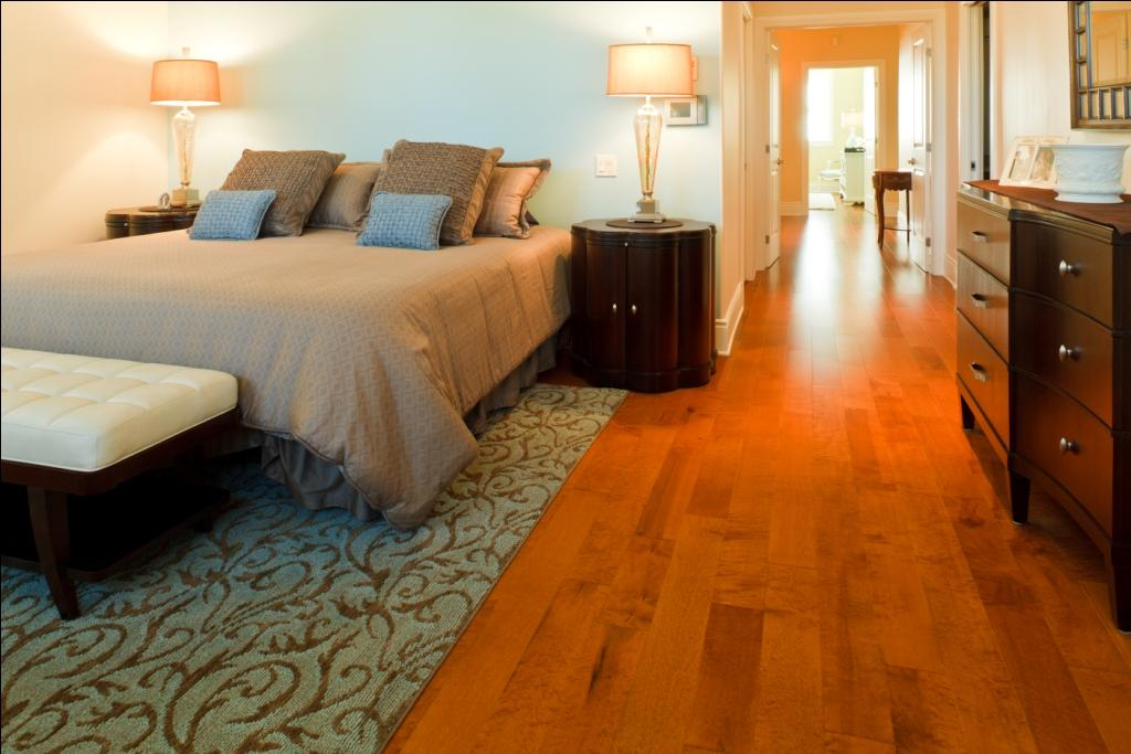 Birdseye Maple Flooring in a Bedroom