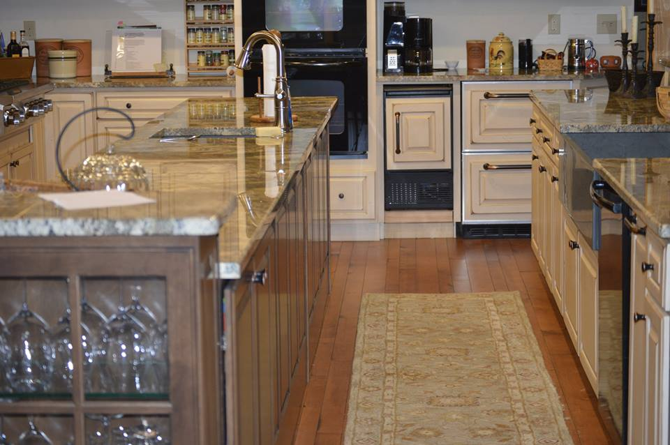 rustic maple wood flooring in a custom kitchen