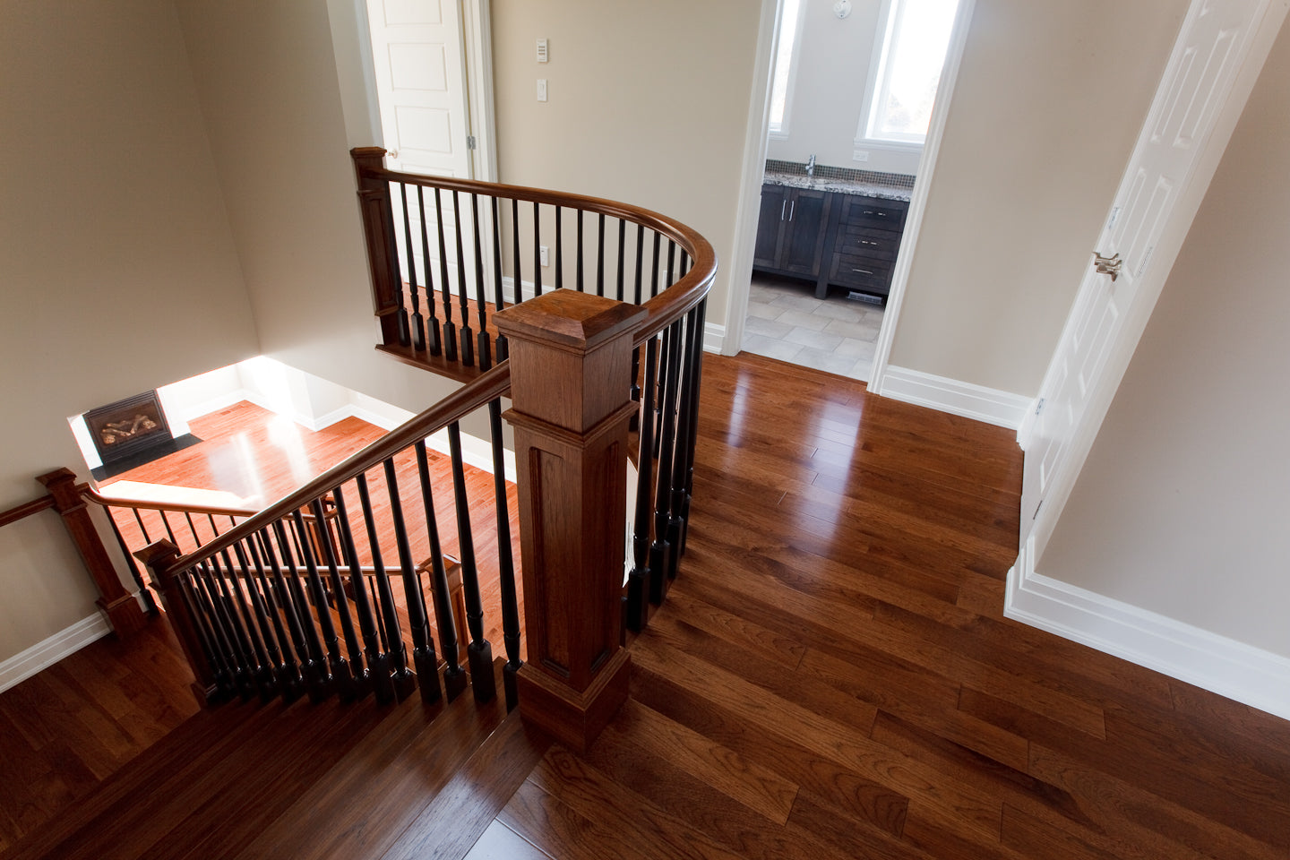 Hickory Wood flooring with custom stair railing
