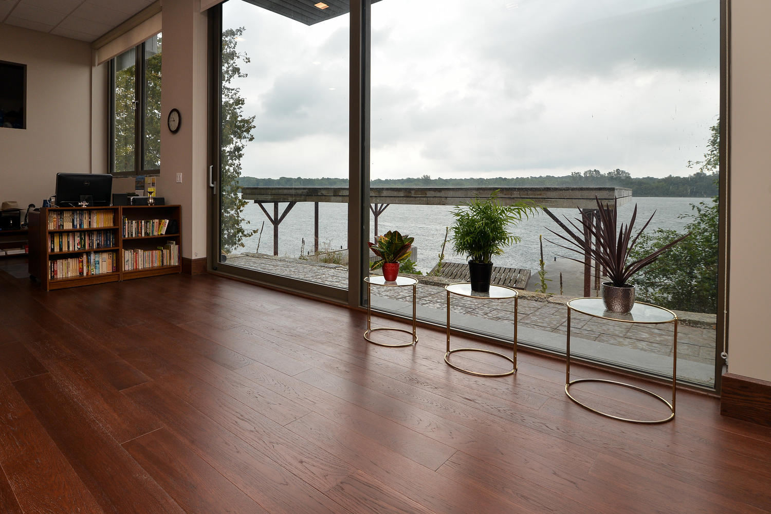 Hickory Wood Flooring with large windows and a beautiful view