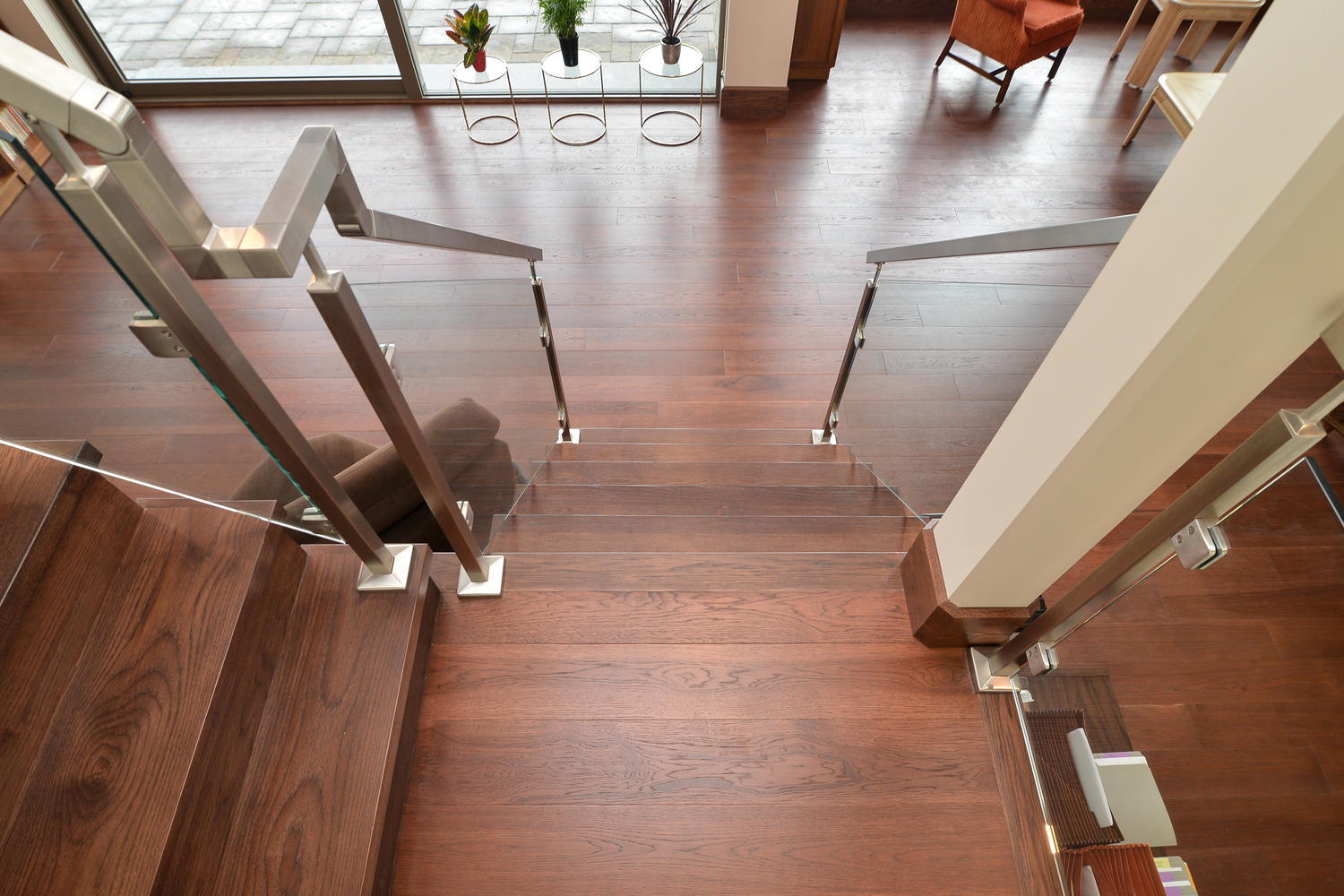 Hickory Wood Flooring flooring down a staircase