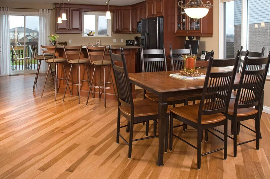 Hickory wood flooring in a kitchen