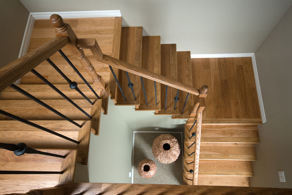Hickory wood flooring stairs