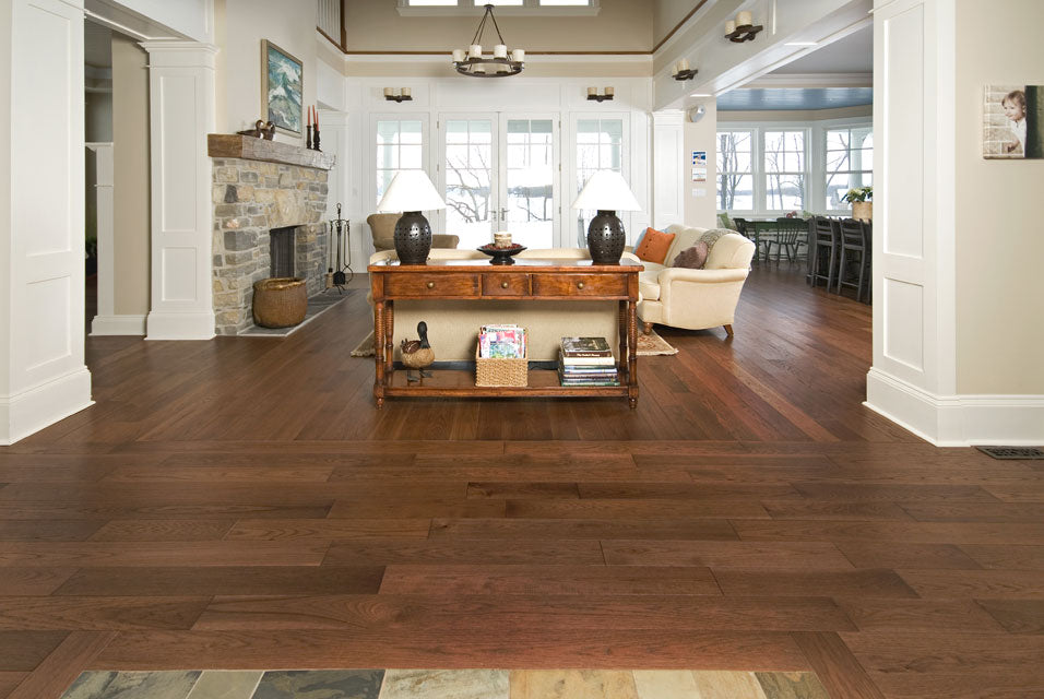 Hickory wood flooring white walls