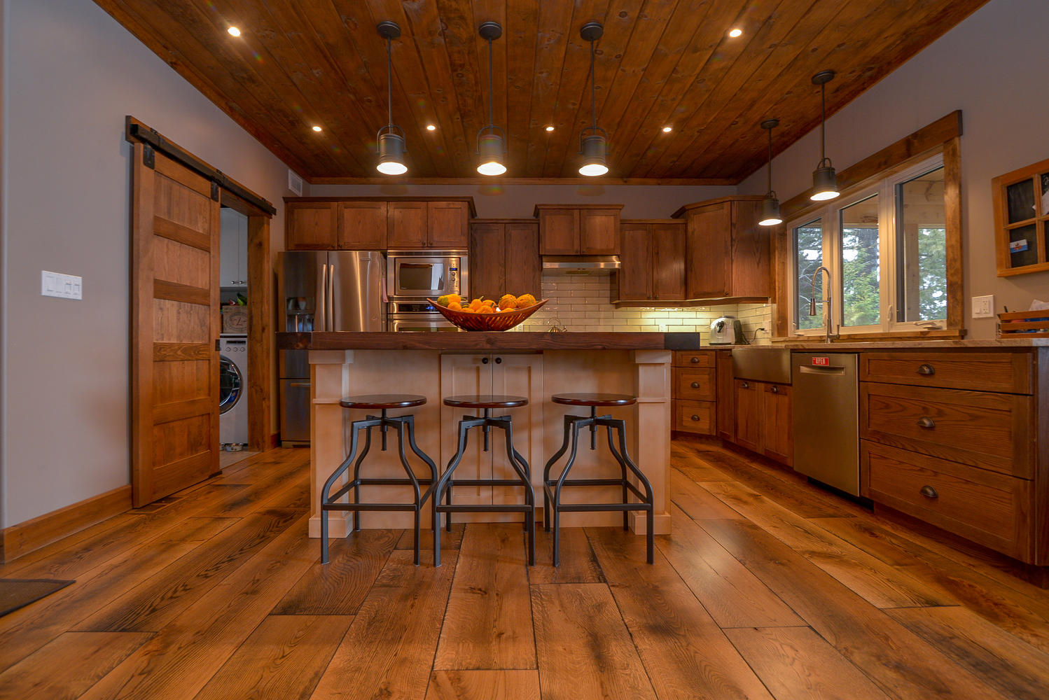 Pictures of Wide plank white oak flooring in rustic color
