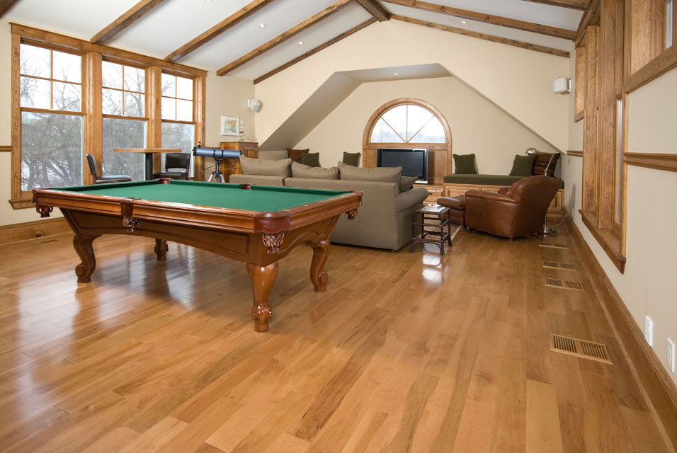 antique hardwood flooring with a pool table