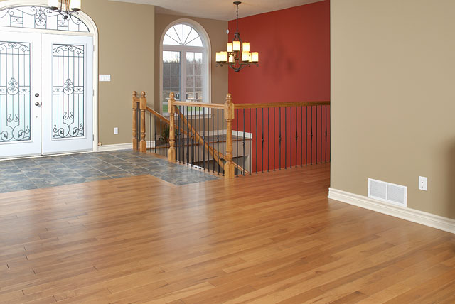 antique rustic wood flooring around a railing
