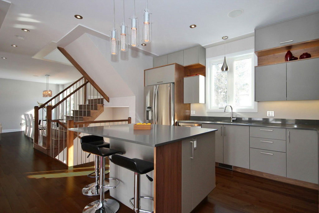 Maple hardwood flooring in a modern kitchen setting