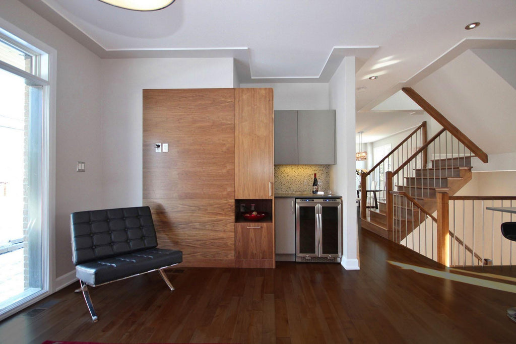 medium toned hardwood flooring maple in a modern home