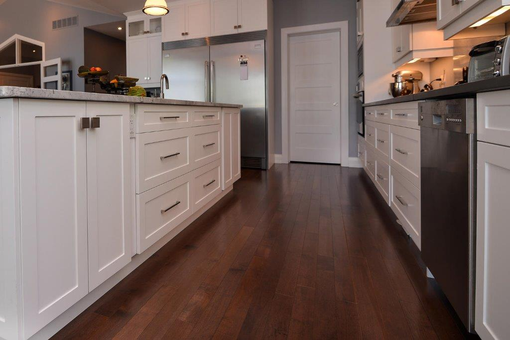 Dark Maple Wood Flooring with White