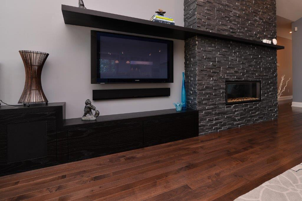 Maple Hardwood Flooring with a Fireplace