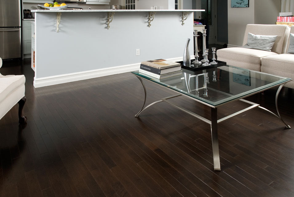 dark hardwood flooring in a living room