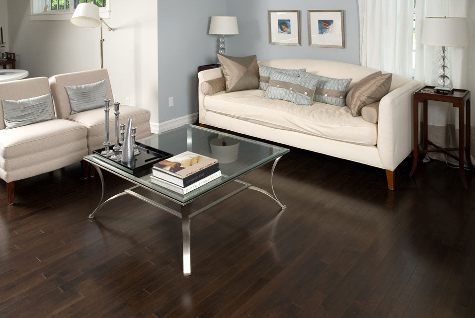 Dark Maple flooring with modern furniture