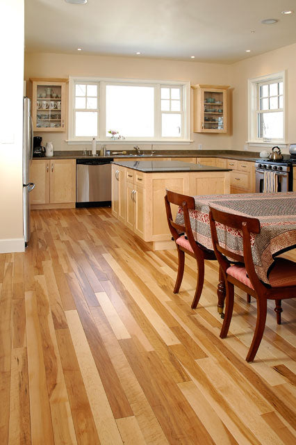 maple wood flooring with no stain in a kitchen setting