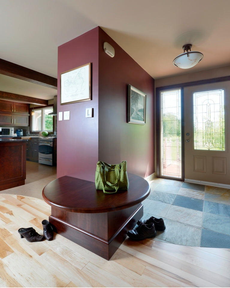 natural maple wood flooring with dark walls