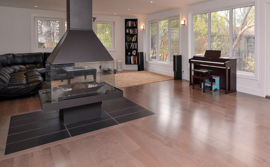 fireplace around hardwood flooring