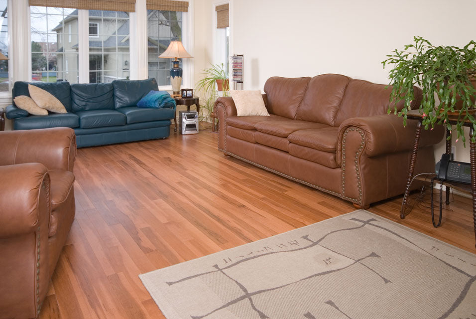 classic maple hardwood flooring in a living room