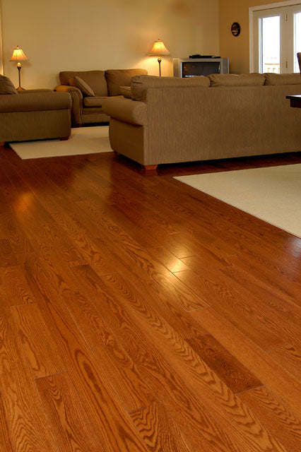 Gunstock oak flooring in a living room